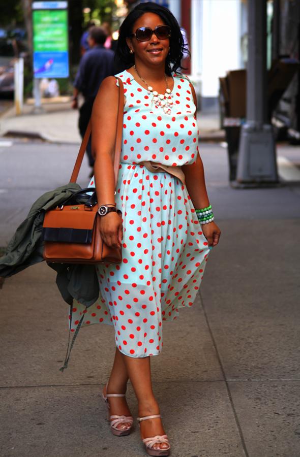 My style: Mint and coral polka dot dress, Kate Spade Bow Bridge Little Kennedy Shoulder Bag, Vince Camuto Toleo Snake-Embossed Platform Sandals, Fendi sunglasses
