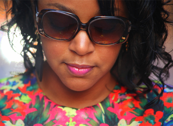 My style: Fendi sunglasses, Armour lip gloss in Cat Club, Three Custom Color Vivacious Violet Lip Gloss