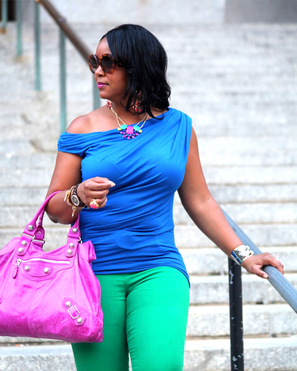 My style: Night brights (blue Tart 'Helen' top + green Gap skinny jeans + LOFT Frida Caged Wedge sandals + Balenciaga Giant Midday bag in Magenta + Prada Baroque Round sunglasses, Vince Camuto studded cuff, Yochi Design Zipper Bracelets, Rachel Leigh Gumball ring, Fossil 'Stella' Watch)