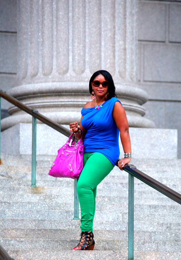 My style: Friday night brights - blue Tart 'Helen' top + green Gap skinny jeans + LOFT Frida Caged Wedge sandals + Balenciaga Giant Midday bag in Magenta + Prada Baroque Round sunglasses, Vince Camuto studded cuff, Yochi Design Zipper Bracelets, Rachel Leigh Gumball ring, Fossil 'Stella' Watch