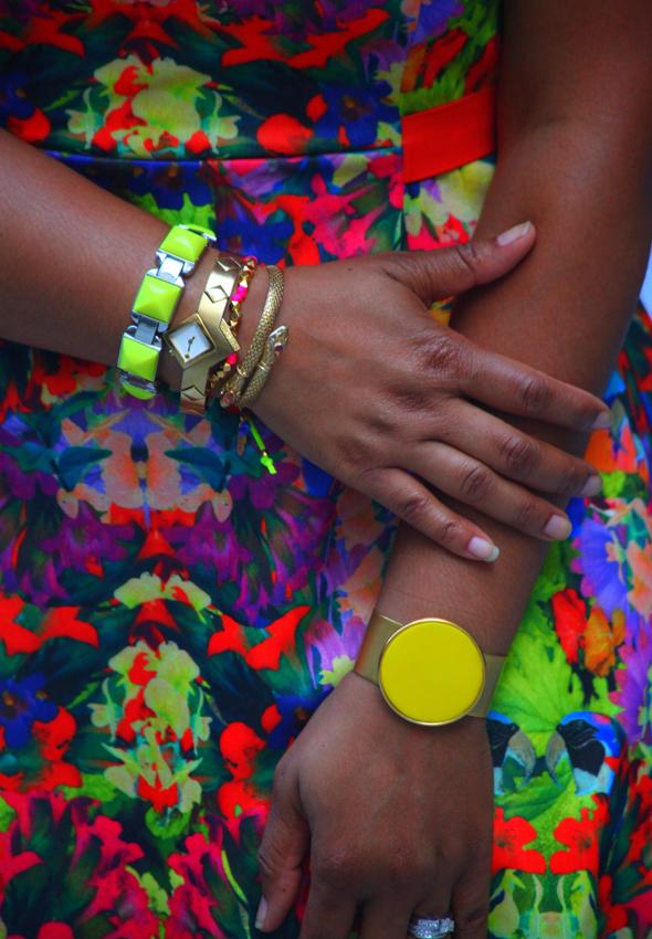 My style: H&M floral print skater dress, Diane von Furstenberg gold sandals, LOFT, Ettika, Golshah Agdasi, Stella & Dot bracelets, Fendi sunglasses - details