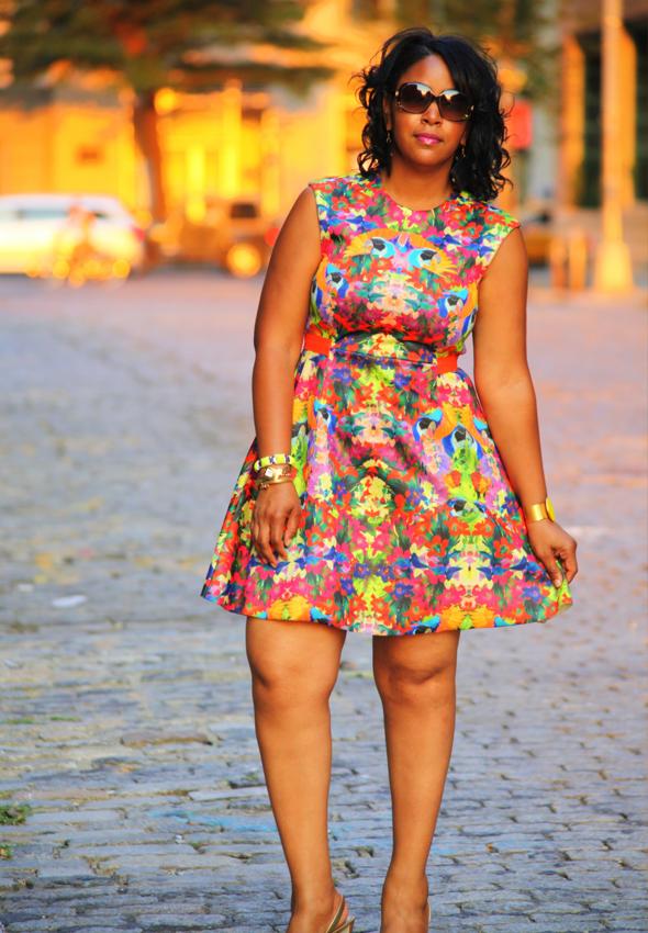 My style: H&M floral print skater dress, Diane von Furstenberg gold sandals, LOFT, Ettika, Golshah Agdasi, Stella & Dot bracelets, Fendi sunglasses