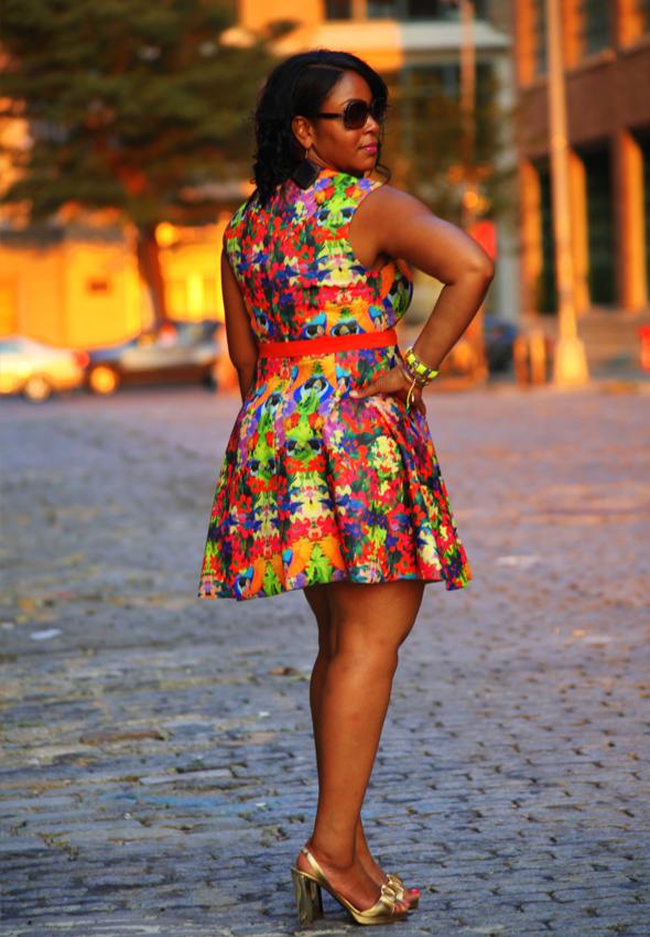 My style: H&M floral print skater dress, Diane von Furstenberg gold sandals, LOFT, Ettika, Golshah Agdasi, Stella & Dot bracelets, Fendi sunglasses - back