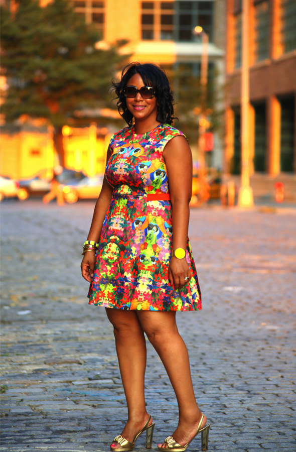H&M floral print skater dress, Diane von Furstenberg gold sandals