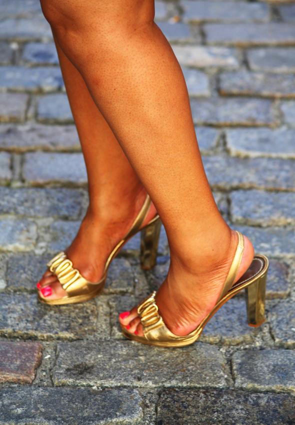 My style: Diane von Furstenberg gold sandals