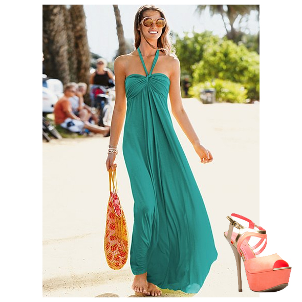 Green maxi dress and Shoedazzle Neda coral sandals