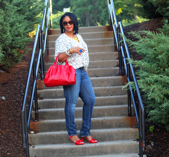My style: Daniel Rainn heart blouse, Seven7 jeans, J. Crew bubble necklace, Marc by Marc Jacobs red satchel, Zara patent leather bow sandals