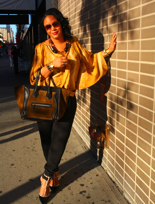 My style: Snakes and studs at New York Fashion Week - Exclusive For Intermix snake print butterfly blouse, H&M chunky resin necklace & pants, Valentino Rockstud kitten heels, Celine suede and Leather Luggage Tote, Ray-Ban sunglasses
