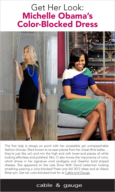Get her look: Michelle Obama's Color-blocked Dress