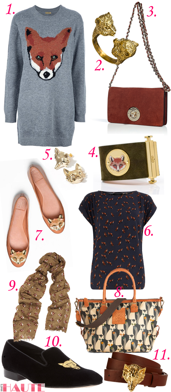 Feelin' foxy: Fox-inspired fashion and accessories, PETER JENSEN PJ FOX JUMPER DRESS GREY, BoyNYC Fox Ring, Mulberry Brown fox lock wallet clutch, Tory Burch 'Fox Face' Cuff, Princess vera wang gold tone simulated crystal fox