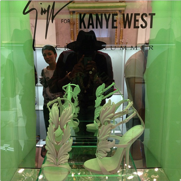 Giuseppe Zanotti for Kanye West Cruel Summer shoes - spotted by Theophilus London
