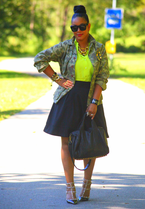 My style: What Goes Around Comes Around camo jacket, Equipment neon green silk blouse, Zara skirt, Alexander Wang Rocco duffel, Valentino Rockstud pumps, Ben Amun gold link necklace, D&G resin cuff, Lanvin for H&M men's sunglasses
