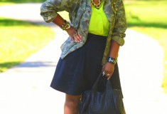 My style: A walk in the park (WGACA camo jacket + Equipment neon blouse + Alexander Wang bag + Valentino pumps)