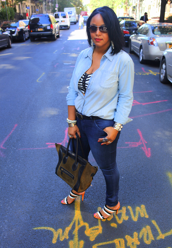 My style: Double denim; double stripes (UK Style by French Connection denim shirt, H&M striped crop top, Hudson Collin Mid Rise Skinny jeans in Soho, Bottega Veneta Three-tone leather sandals, Celine suede and Leather Luggage Tote, Ray-Ban sunglasses)