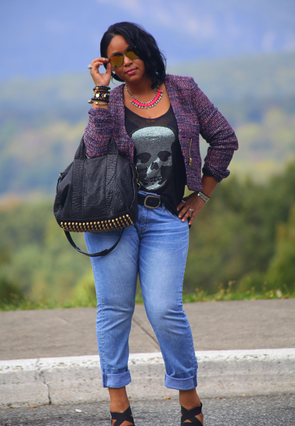 My style: Skulls in the mountains (H&M tweed blazer, e.vil skull tank H&M boyfriend jeans, silver Prada sandals, Alexander Wang 'Rocco' duffel, Icing mirrored sunglasses)