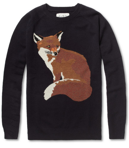 Aubin & Wills Welimeadow Fox Intarsia Merino Wool Sweater