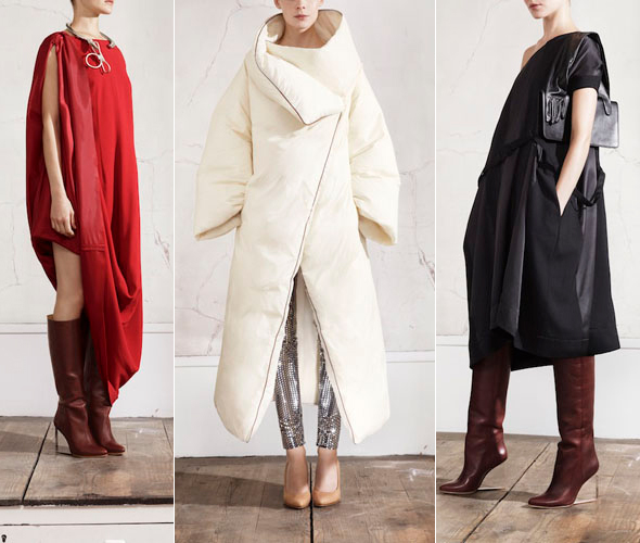 Highlights of the Maison Martin Margiela for H&M collection include billowing dresses, avant-garde sleeping bag coats and lucite wedge heeled boots