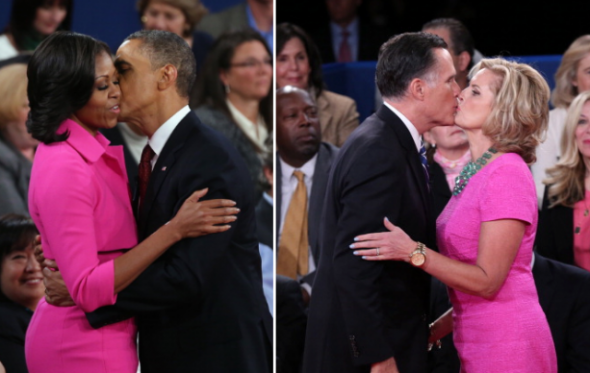 Michelle Obama and Ann Romney in hot pink at the presidential debate