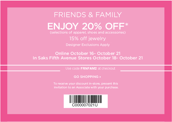 Saks Friends and Family sale