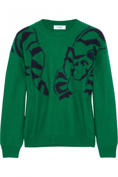 Sonia by Sonia Rykiel Intarsia green wool and raccoon-blend sweater