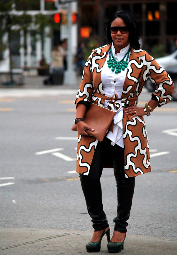 TJ Maxx Fall Score - daytime look (Tory Burch leather pants, Diane von Furstenberg squiggle print trench coat, Black blouse, Lisa for Donald J. Pliner pumps, Baublebar emerald bib necklace, YSL sunglasses, American Apparel leather pouch)