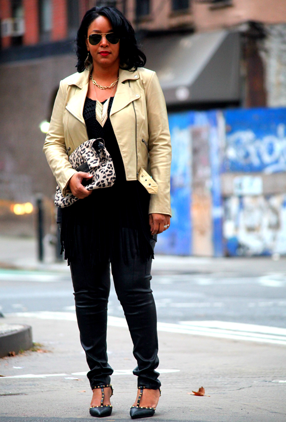 TJ Maxx Fall Score - night time look (Tory Burch leather pants, Identify leather jacket, H&M fringe top, Jimmy Choo for H&M leopard print bag, Lola Cruz studded pumps)