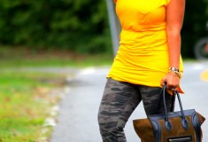 My style: Yellow & camo (Avaleigh dress, VS camo pants, Anna Dello Russo at H&M accessories)
