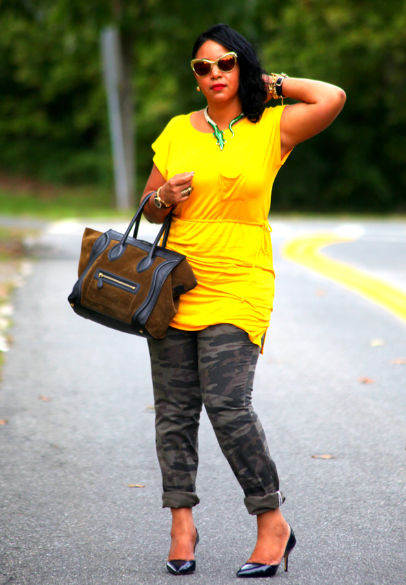 My style: Avaleigh yellow dress, Victoria's Secret camouflage pants, Celine bag, Zara heels, Anna Dello Russo at H&M sunglasses and alligator necklace