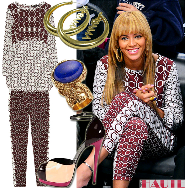 Get her haute look - Beyoncé in Tibi Silk printed blouse and pants Erika Peña Obama earrings, YSL Arty Ovale ring in Lapis blue and Giuseppe Zanotti Colorblock Patent Leather and Metallic Leather Platform Sandals