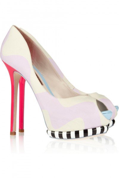 Sophia Webster Karlie brushed-satin and leather peep-toe pumps