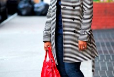 My style: Stripes & checks (LOFT Corded Dobby Striped Trench + Jolt Reversible Houndstooth-Print Skinny Jeans)