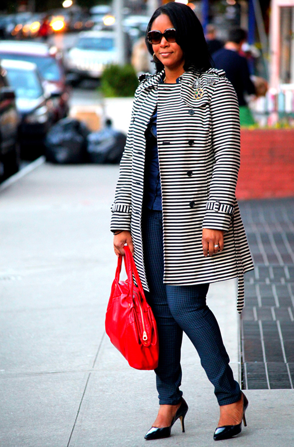 My style: LOFT Corded Dobby Striped Trench coat, striped ruffle front blouse, Jolt Reversible Houndstooth-Print Skinny Jeans, Marc by Marc Jacobs Special Salma satchel, Zara court shoes, ASOS Lion Head Chunky Link Necklace, Badgley Mischka Brooch