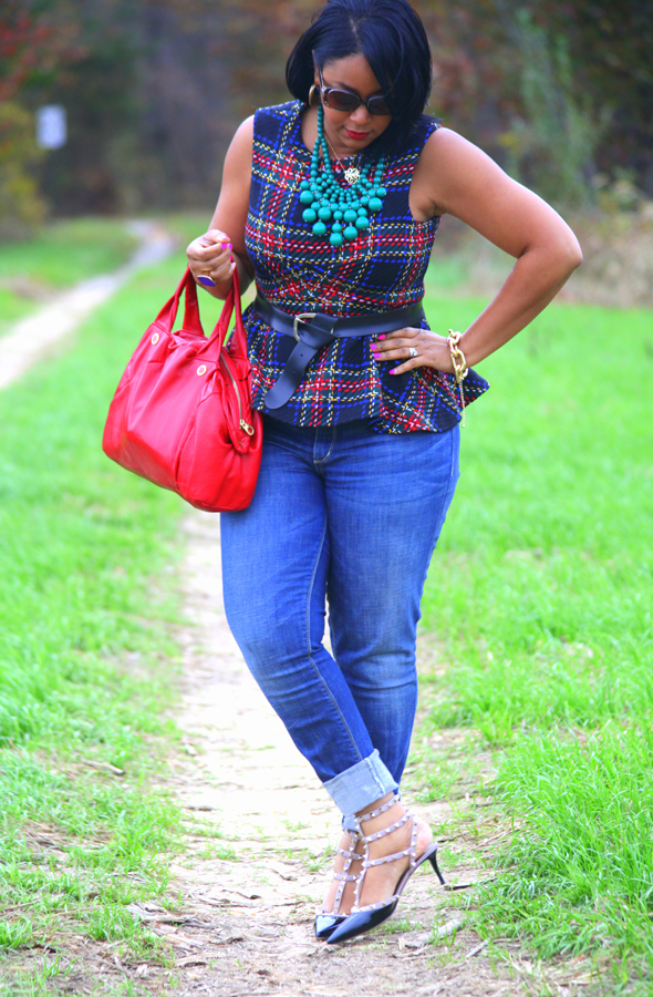 My style: ASOS Tartan peplum top, Seven7 jeans, Valentino Rockstud pumps, Baublebar emerald bib necklace, Marc by Marc Jacobs duffel bag