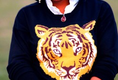My style: Tigers, cheetahs and leather (ASOS Tiger sweater + oxblood leather shorts)