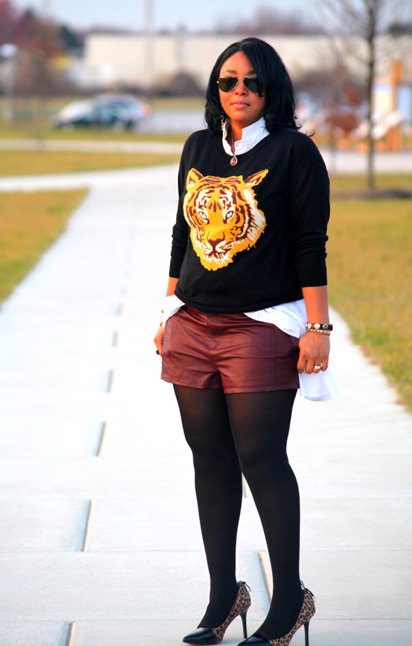 My style: ASOS Tiger sweater, oxblood leather shorts, Levity Jalone Cheetah Pumps, Ippolita Sterling Silver Wonderland Red Teardrop Pendant in Scarlet, Ray Ban aviators