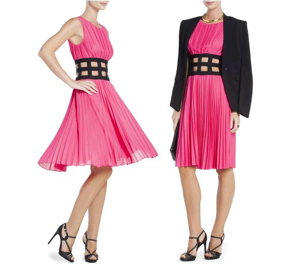BCBGMAXAZRIA Gisele Pleated Cocktail Dress with Elastic Corset