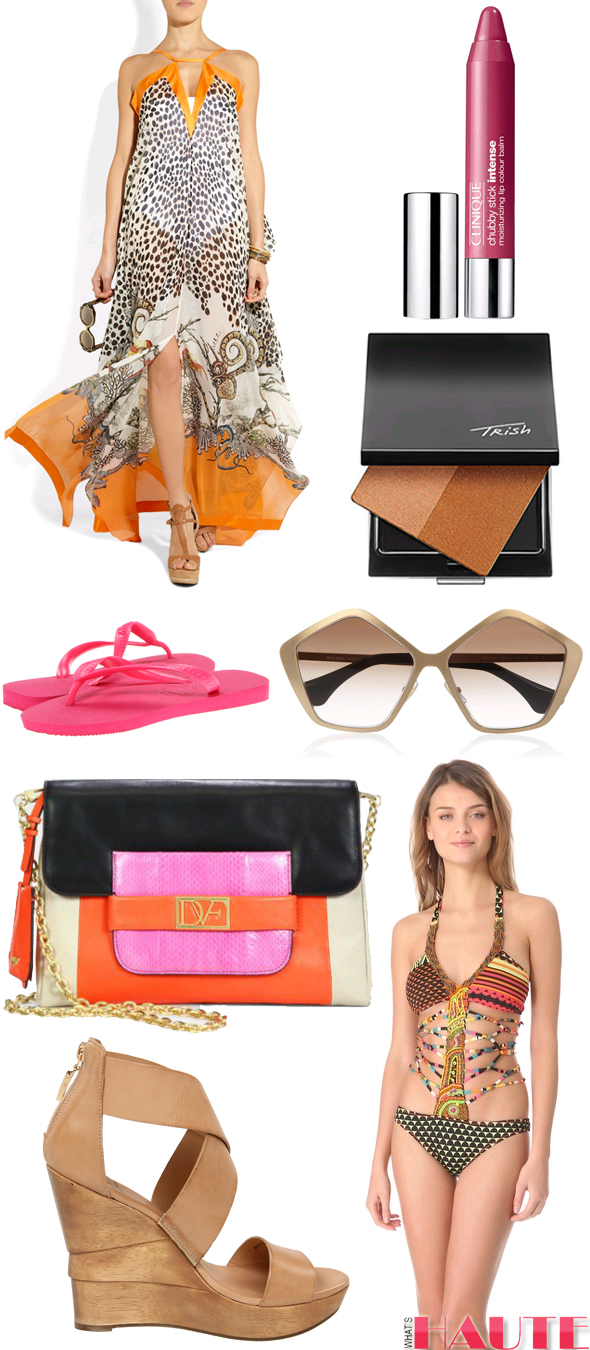 What to Wear to Art Basel: Roberto Cavalli Printed silk-georgette maxi dress, Clinique 'Chubby Stick - Intense' Moisturizing Lip Color Balm, Trish McEvoy Dual Resort Bronzer, Miu Miu Pentagon-frame metal sunglasses, Agua Bendita Bendito '80s One Piece Swimsuit, Diane Von Furstenberg Opal wedges, Diane von Furstenberg Mimosa Colorblock Convertible Clutch, Havaianas Top Flip Flops