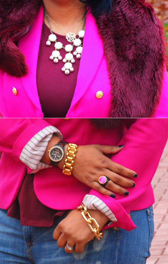 "My style: Details - Jewelry: Necklaces: Charming Statements Round Monogram ""Love"" Pendant Necklace & Bubble necklace via The Attic - Coronado; Bracelets: J. Crew, ASOS; Ring: Isharya Pink Agate Druzy & Ebony Wood Ring"