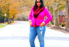 My style: Fall brights (J. Crew blazer + Topshop peplum top + Vince ripped jeans)