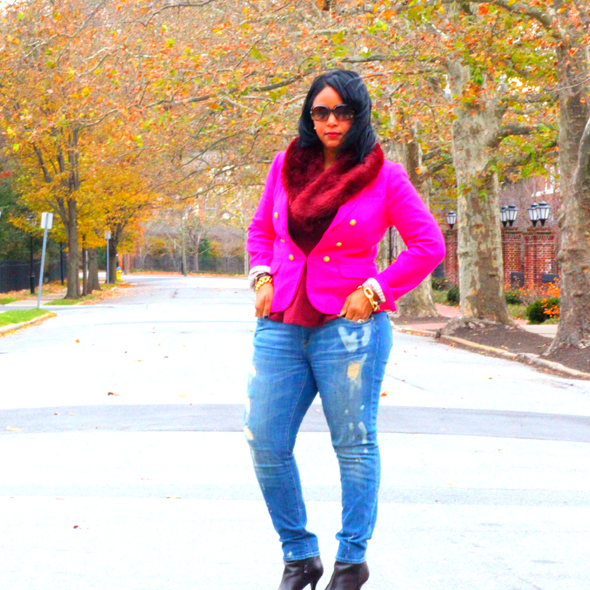 My style: Fall colors - J. Crew Collection crepe shawl blazer in hot pink, Topshop peplum top, H&amp;M fur scarf, Vince ripped skinny jeans, Via Spiga booties)