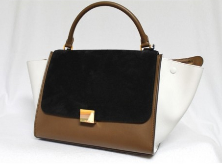 Celine Tricolor Suede & Leather Small Trapeze Luggage Bag - side view