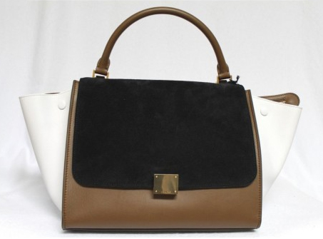 Celine Tricolor Suede & Leather Small Trapeze Luggage Bag