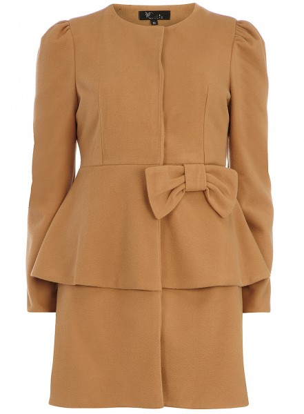 Dorothy Perkins Brown waist frill coat