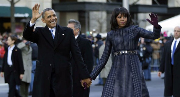 First Lady Michelle Obama with President Barack Obama at the inaugural parade