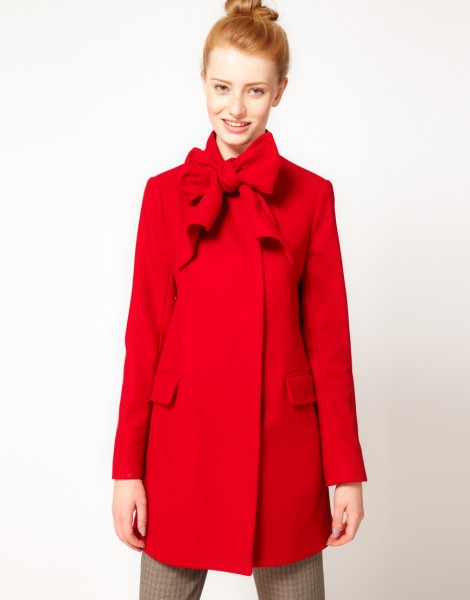 French Connection Bow Tie Wool Mix Coat