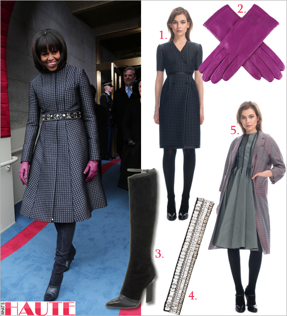 Get her haute look: Michelle Obama at the 2013 Presidential Inauguration in a custom Thom Browne coat and dress, J. Crew Collection Rhinestone-encrusted Sash and purple leather gloves, and Reed Krakoff Leather Suede Knee Boots