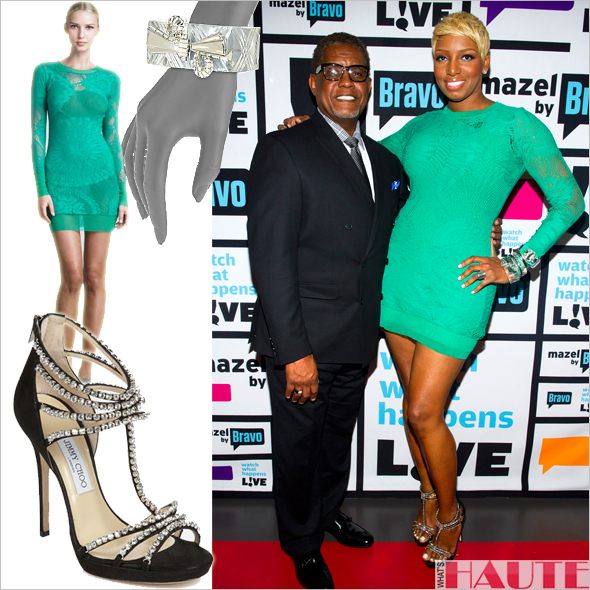 Get her haute look - Nene Leakes in Jean Paul Gaultier Lace-Mesh Long-Sleeve Dress, Jimmy Choo 'Kera' Platform Sandals, crystal studded lucite bangles