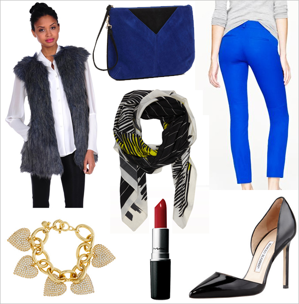 Get the look faux fur vest, oxford shirt, blue pants, chevron clutch, J. Crew pave heart bracelet, Manolo Blahnik Tayler Patent Pointed d'Orsay pumps