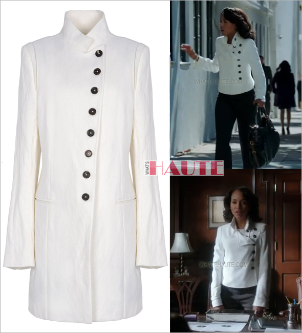 Kerry Washington as Olivia Pope on Scandal in Ann Demeulemeester white mid-length jacket