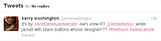 "Kerry Washington tweets about white jacket on Scandal: ""It's by Ann Demeulemeester"""